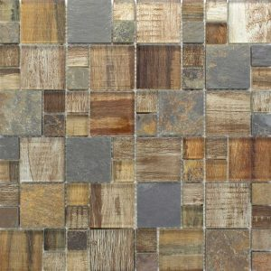 BSS-05 Brown Wood Look Glass and Stone Mosaic Tile