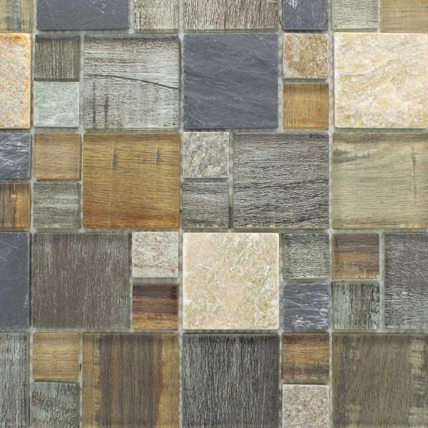 BSS-06 Grey Brown Wood Look Glass and Stone Mosaic Tile