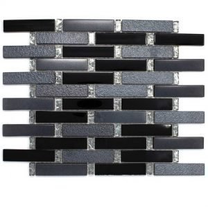DKT-01 Dark Night Series Black Small Brick Metal Paint Effect Glass Mosaic