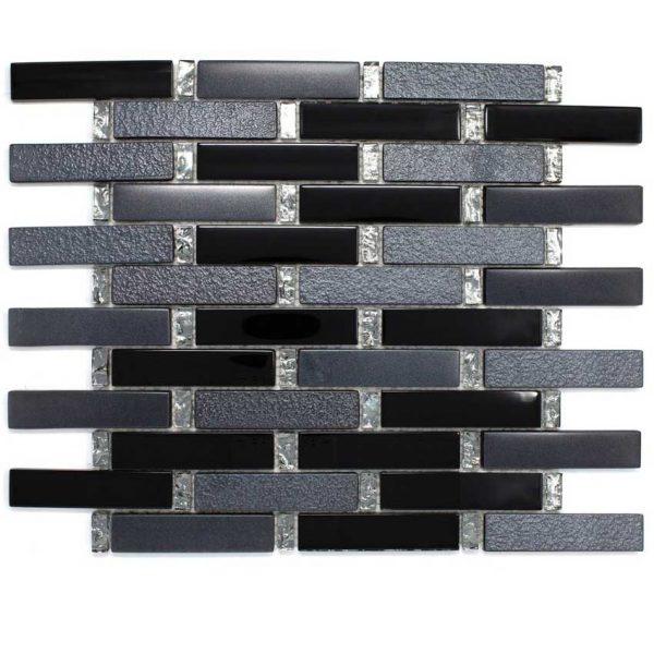 DKT-01 Dark Night Series Black Small Brick Metal Paint Effect Glass Mosaic