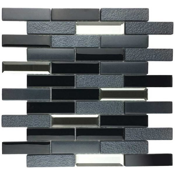 DKT-02 Mix Grey Black Metal Paint Effect Brick Glass Mosaic tile