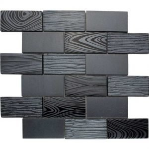 DKT-03 Dark Night Series Black 2x4 Subway Tile Metal Paint Effect Glass Mosaic