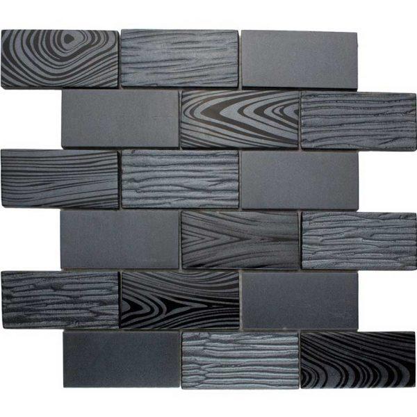 DKT-03 Dark Night Series Black 2x4 Subway Tile Metal Paint Effect Glass Mosaic