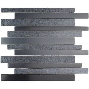DKT-04 Dark Night Series Black Linear Metal Paint Effect Glass Mosaic